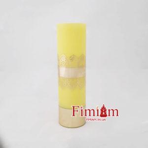 Свічка туба на оливу жовта 20 см