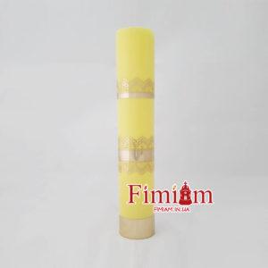 Свічка туба на оливу жовта 30 см