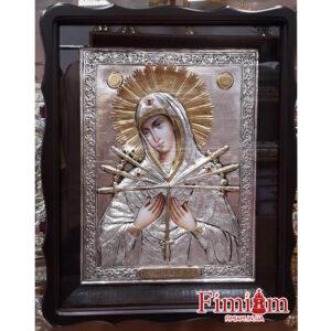 Ікона Богородиця Семистрільна в ризі